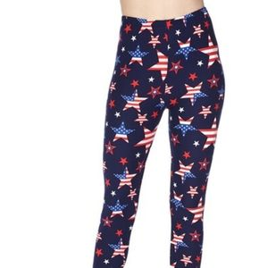 Plus size American flag buttery leggings